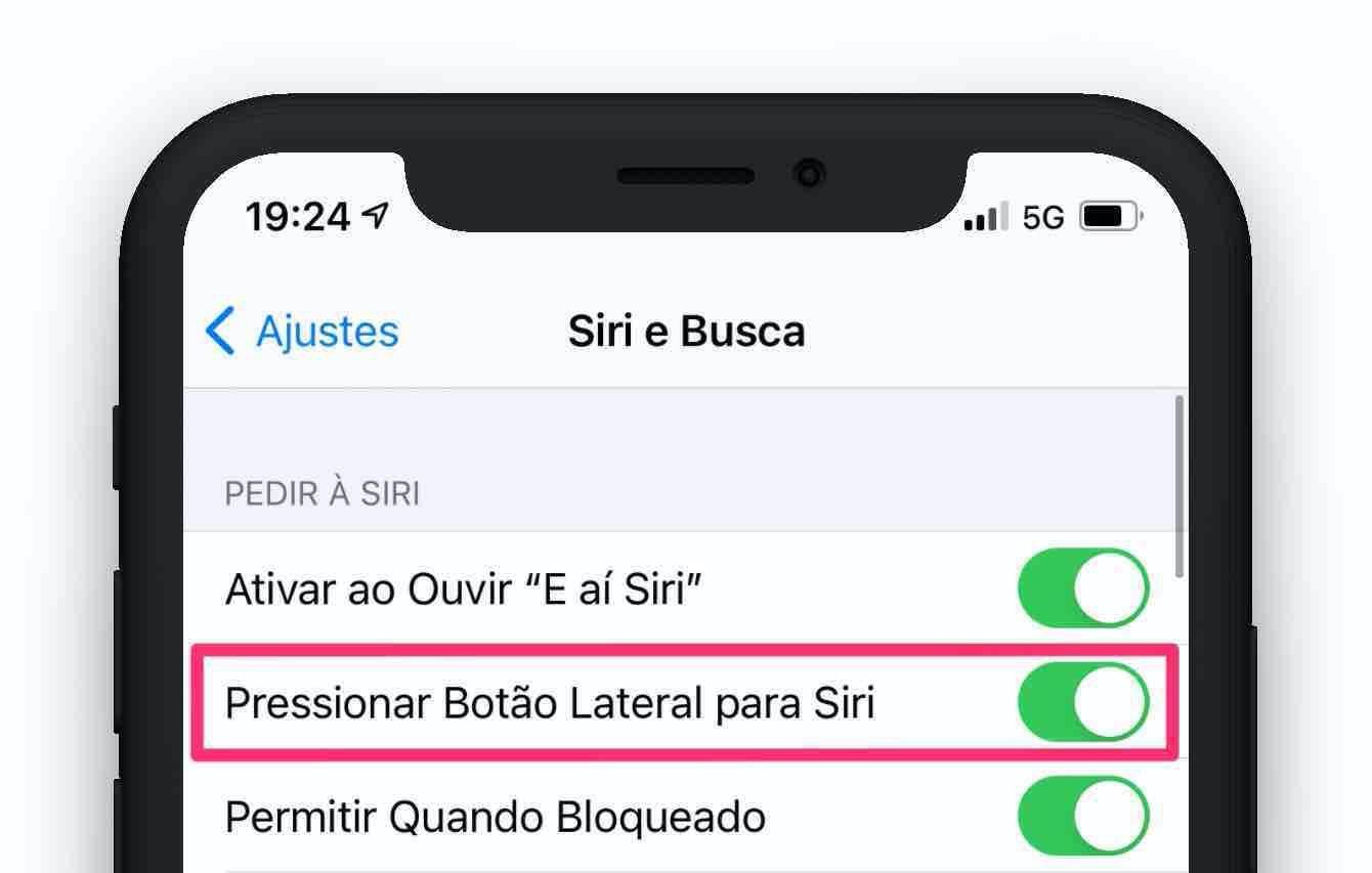 Ajuste de como usar a Siri com o botão lateral.