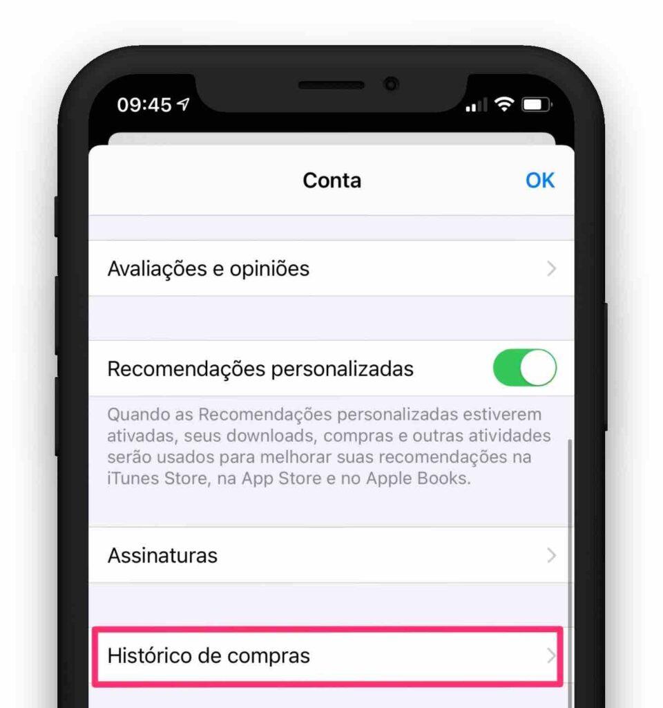 Histórico de compras para reembolso de aplicativo.
