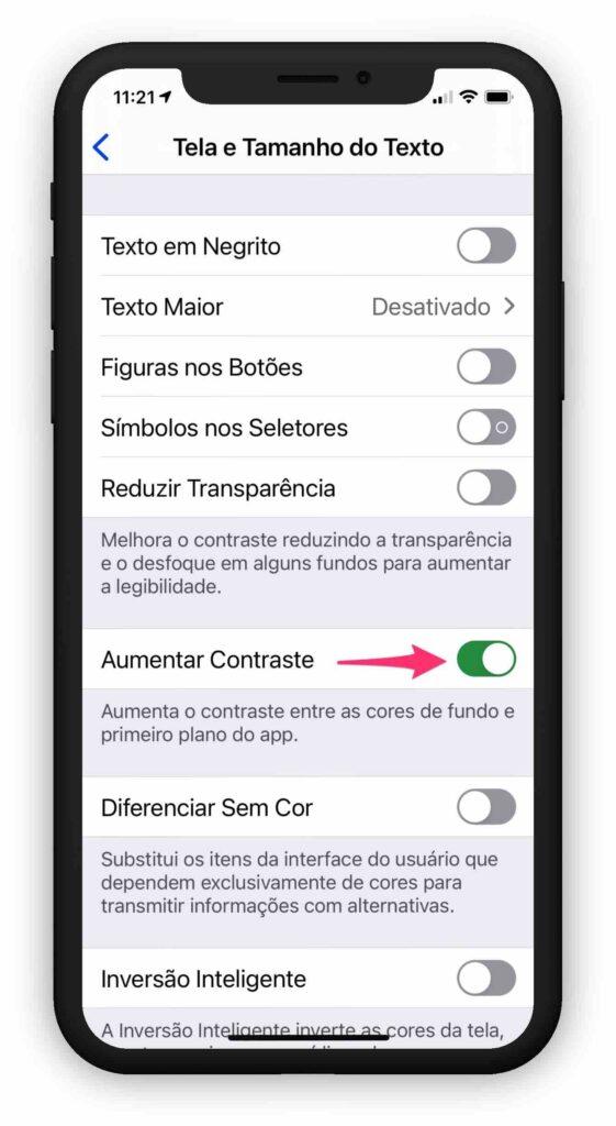 Aumentar o tamanho das letras no iPhone